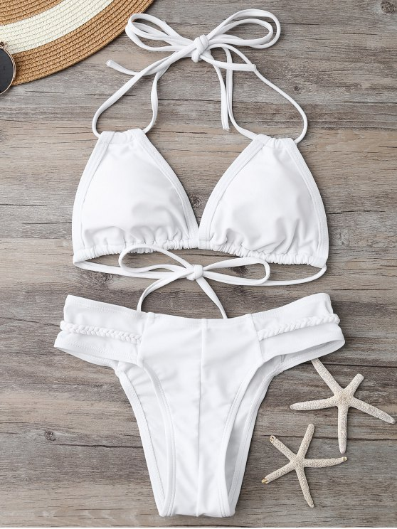 Maillot de bain paddé décoré des bandes tressées - Blanc S