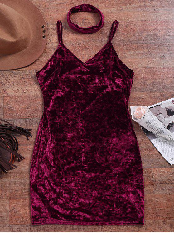 Terciopelo machacado Vestido ajustado - Vino Rojo S
