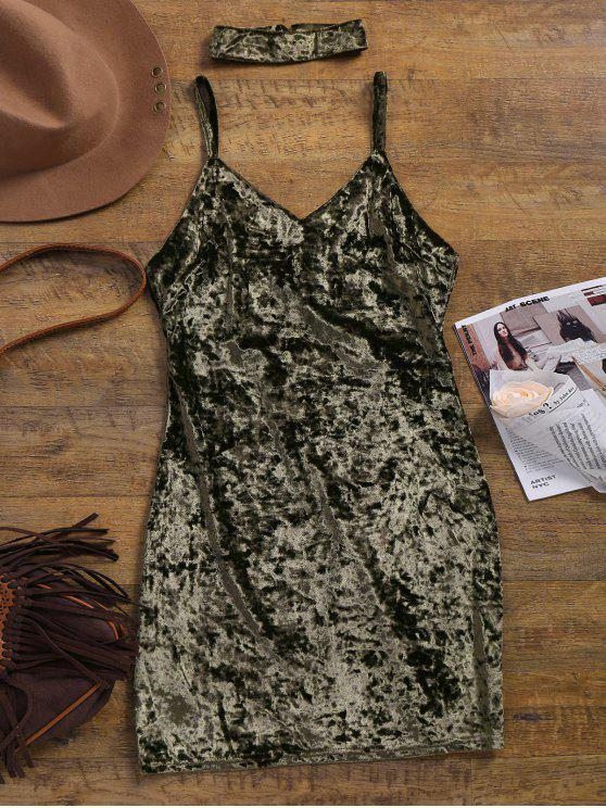 buy Crushed Velvet Bodycon Slip Dress - ARMY GREEN S