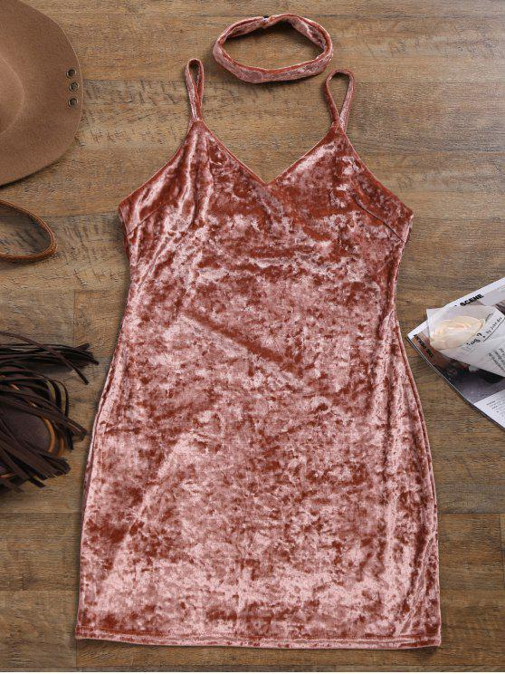 online Crushed Velvet Bodycon Slip Dress - PINK M