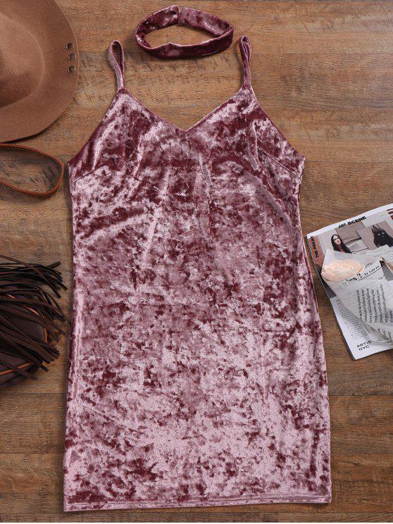 hot Crushed Velvet Bodycon Slip Dress - PINKISH PURPLE S