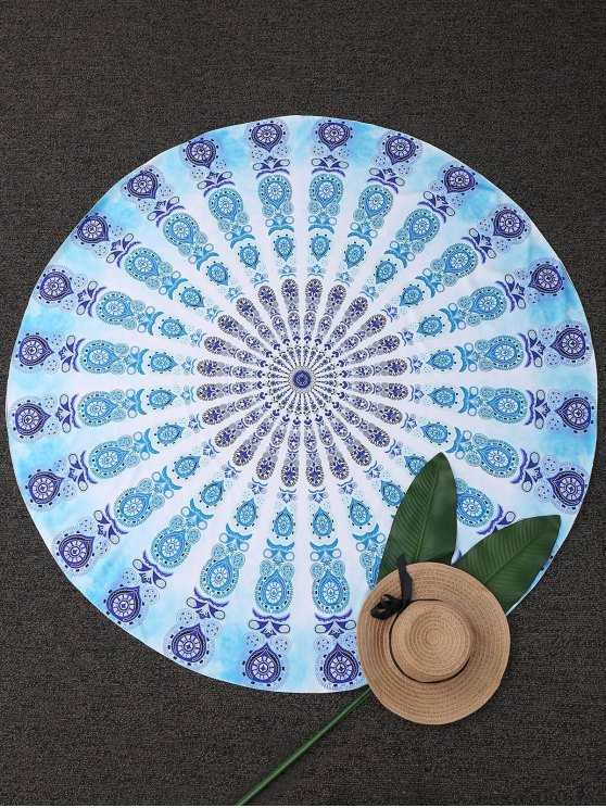 best Geometric Circle Paisley Beach Throw - TURQUOISE ONE SIZE