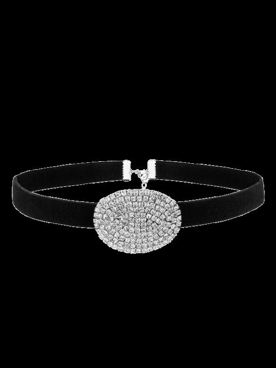 Faux-Veloursleder Ovale Strass Halskette - silber