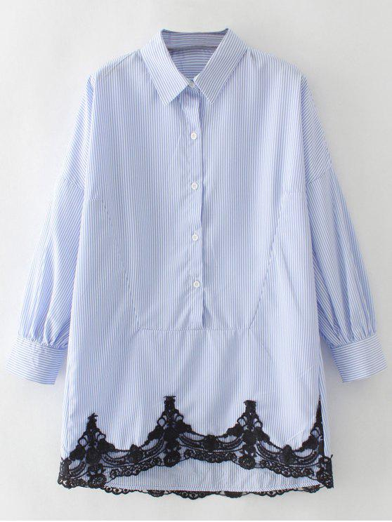 womens Contrast Lace Button Up Blouse - BLUE AND WHITE L