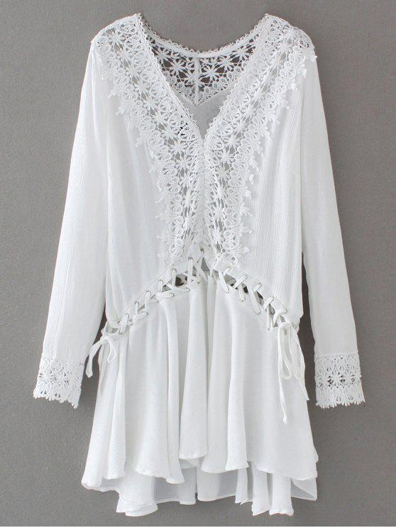 Guarnição do laço Lace Up Vestido Túnica - Branco M