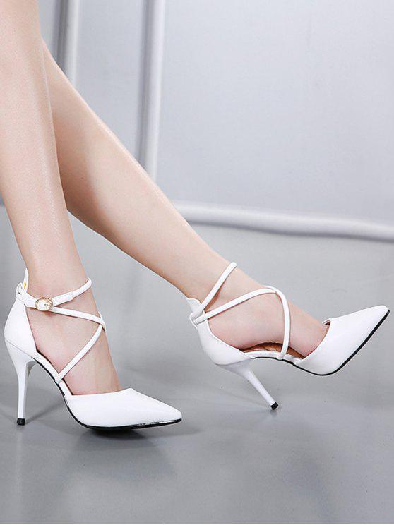 Faux Leather Cross Straps Mini Heel Pumps - White