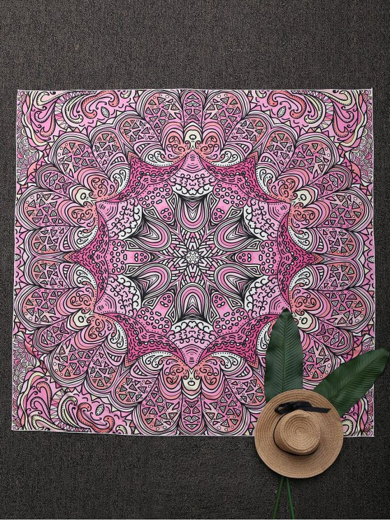 women Square Mandala Print Beach Throw - PINK ONE SIZE