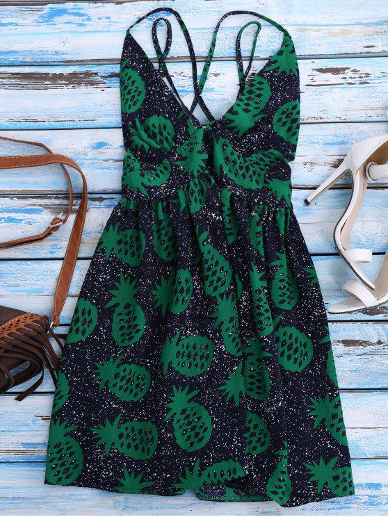 Robe de plage à motifs d'ananas et à croisillonset à col plongeant - Bleu Violet S