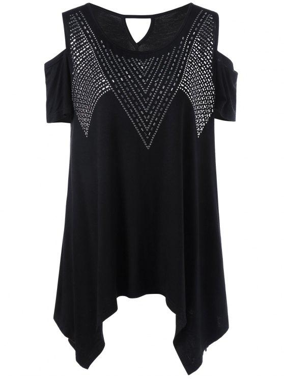 58e7a9d3c5e53 27% OFF  2019 Plus Size Rivet Embellished Cold Shoulder T-Shirt In ...