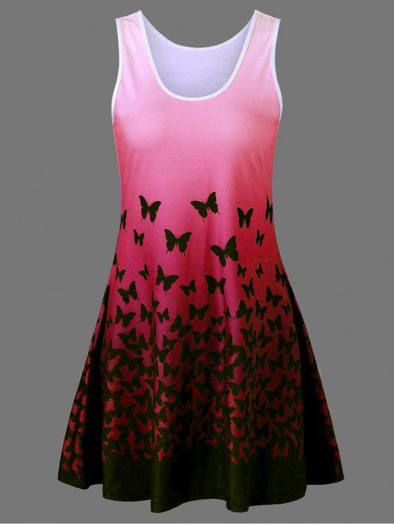 Butterfly Print Ombre Plus Size Trapeze Dress Red Plus Size Dresses
