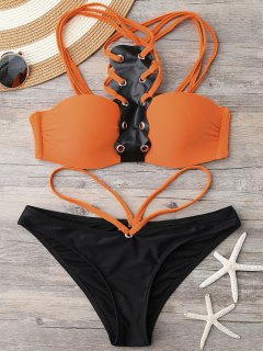 Push Up Color Block Bandeau Bikini - Black And Orange M
