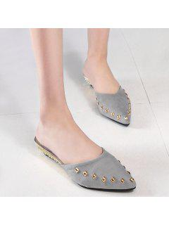 Metal Rivets Pointed Toe Slippers - Gray 38