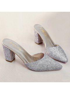 Glitter Pointed Toe Slippers - Silver 37