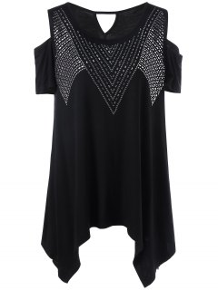 Plus Size Rivet Embellished Cold Shoulder T-Shirt - Black 2xl