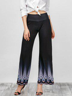 High Rise Printed Wide Leg Pants - Black S
