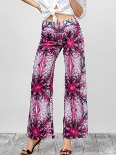 Ornate Print Long Palazzo Wide Leg Pants - Papaya Xl