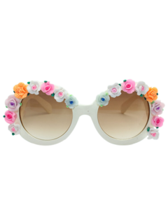 Curving Leg Tiny Flowers Mirrored Sunglasses - White