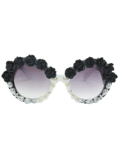 Curving Leg Rose Faux Pearl Sunglasses - Black