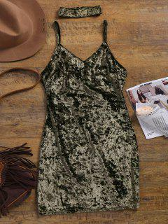 Crushed Velvet Bodycon Slip Dress - Army Green L