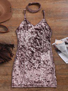 Crushed Velvet Bodycon Slip Dress - Coffee L