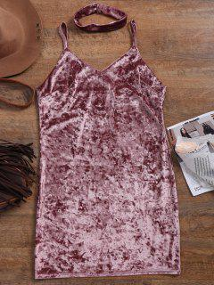 Crushed Velvet Bodycon Slip Dress - Pinkish Purple L