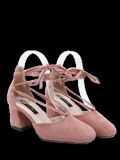 Block Heel Square Toe Tie Up Pumps - Pink 39