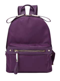 Casual Zips Nylon Backpack - Purple