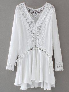 Lace Trim Lace Up Tunic Dress - White L
