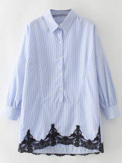 Contrast Lace Button Up Blouse - Blue And White S
