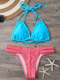 Banded Halter Thong Bikini - Blue And Pink M