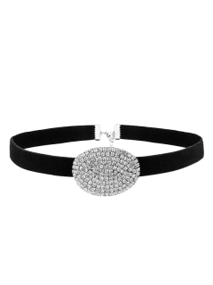 Rhinestone Faux Suede Choker Necklace - Silver