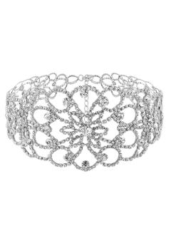 Floral Rhinestoned Wide Choker - Silver