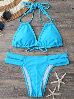 Padded Bikini Top And Banded Bottoms - Lake Blue S