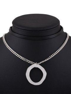 Alloy Chain Torus Faux Suede Choker - Silver