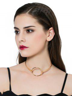 Alloy Vintage Circle Necklace - Golden