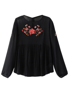 Long Sleeves Embroidered Babydoll Top - Black S