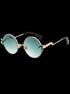 Tetrahedron Zigzag Leg Round Sunglasses - Light Green