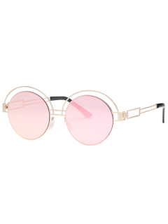 Hollow Out Metallic Round Sunglasses - Pink