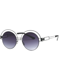 Hollow Out Metallic Round Sunglasses - Black Grey