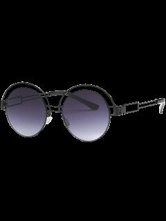 Hollow Out Metallic Round Sunglasses - Black Grey