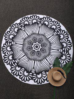 Couverture De Plage Mandala Imprimée En 3D - Noir