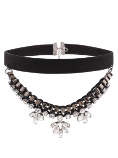 Flower Rhinestone Faux Suede Layered Choker - Black