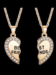 Engraved Friends Rhinestone Heart Necklaces - Golden