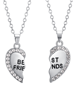 Engraved Friends Rhinestone Heart Necklaces - Silver