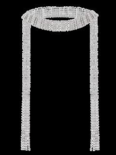 Rhinestone Fringed Wrap Necklace - Silver
