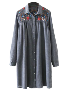 Embroidered Yoke Smock Shirt Dress - Gray L