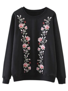 Embroidered Crew Neck Pullover Sweatshirt - Black M