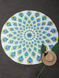 Circle Paisley Print Beach Throw - Green
