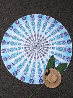 Couverture De Plage Ronde à Motifs Cachemire Géométriques - Turquoise