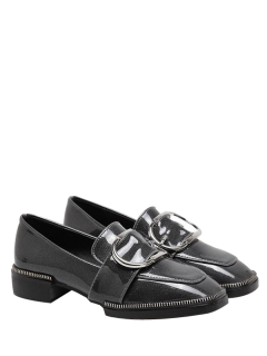 Buckle Strap Square Toe Flat Shoes - Gray 38